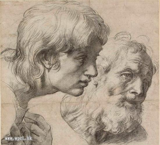 两位信徒的头部与手,约1519-1520